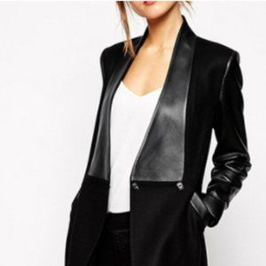 Black sweater/jacket with faux leather sleeves